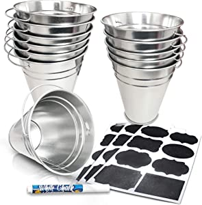 ArtCreativity Large Galvanized Metal Buckets Set, Includes 12 Rustic Pails with Handles, 24 Chalkboard Labels and 1 Liquid Chalk Marker, 5 Inch Galvanized Buckets for Party Favors, Wedding Decorations