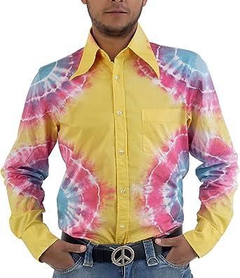 COMYCOM Hippie Goa Batik Camisa Amarillo Multicolor Gelb Bunt ...