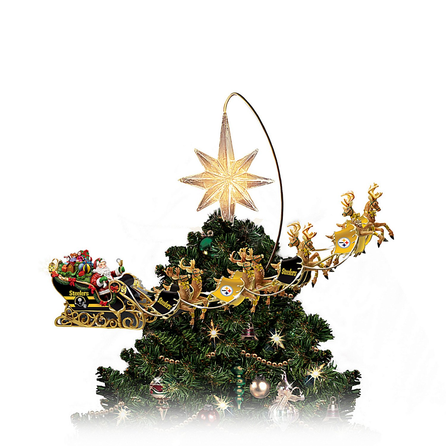 Nfl Licensed Pittsburgh Steelers Lighted Christmas Tree Topper Wiring For Front Component Speakersimg13681jpg Holiday Pride By The Bradford Exchange Home Kitchen
