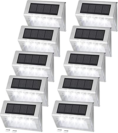 Dock,Doorway 4 Pieces Solar Step Deck Lights Outdoor 3 LED Stair Lights Waterproof Work Great for Deck Fence or Patio Anordsem