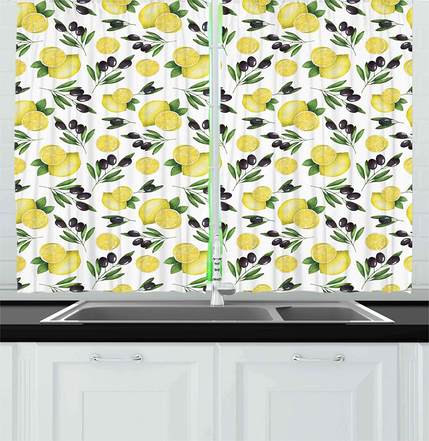 Kitchen Kitchen Curtains by Ambesonne, Watercolors Painted Pattern of Olives and Lemons Healthy Mediterranean Food, Window Drapes 2 Panels Set for Kitchen Cafe, 55W X 39L Inches, Yellow Black Green
