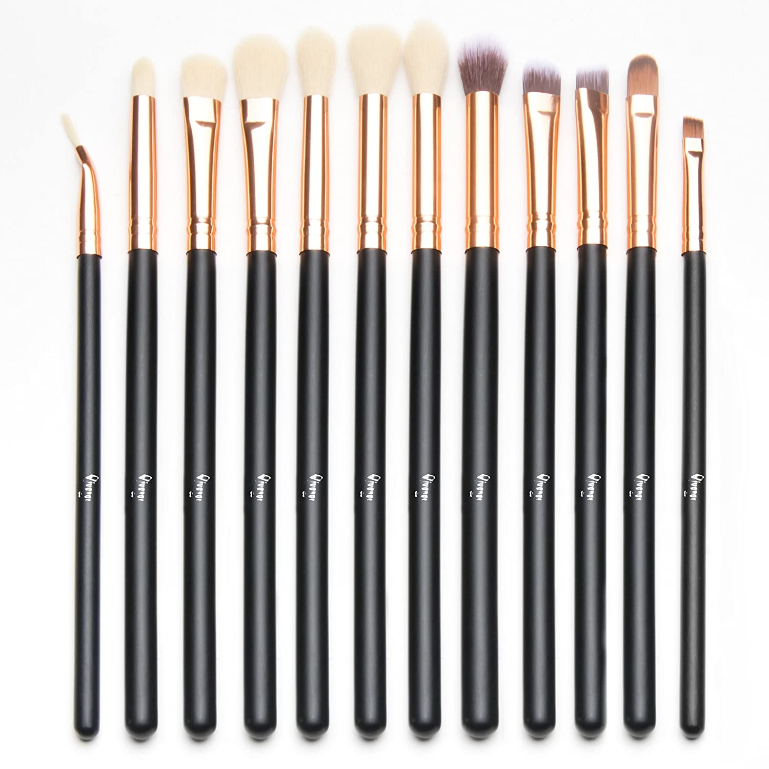 Qivange Eyeshadow Brushes, Vegan Cosmetic Eyebrow Eyeliner Eyeshadow Blending Makeup Brush Set(12pcs, Black with Rose Gold)