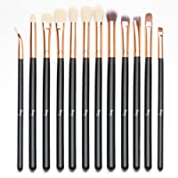Qivange Eyeshadow Brushes, Cosmetics Eyeliner Eyebrow Blending Makeup Brushes Set(12pcs, Black with Rose Gold)