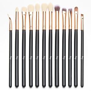 Qivange Kit de brosse à yeux Kit de pinceau de maquillage avec poche (12pcs Rose Gold)