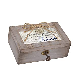 Cottage Garden Blessings Nicest Friends Grey Distressed Locket Petite Music Box Plays Friend in Jesus