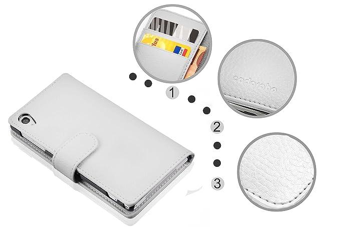 Cadorabo Sony Xperia Z1 Funda de Cuero Sintético ESTRUCTURA en BLANCO MAGNESIO Cubierta Protectora Estilo Libro con Cierre Magnético, Tarjetero y Función de ...