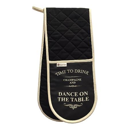 Negro guantes de horno doble vintage tiempo a beber Chamagne y ...