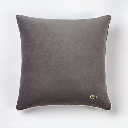 Lacoste Velvet Brushed Twill 18×18 Throw Pillow, Pewter Paloma
