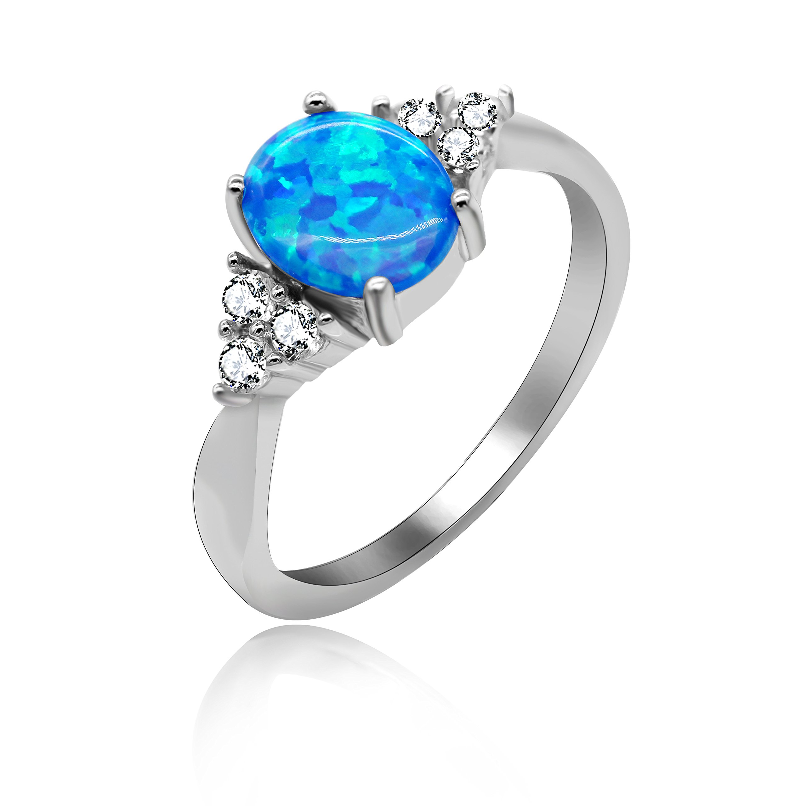 Uloveido 2.96g 925 Sterling Silver Birth-Stone Ring Oval Cut Created Blue Fire Opal with Round Clear CZ Luxury Wedding Engagement Jewelry for Women Size 8 JZ125