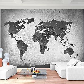 Fototapete Weltkarte Schwarz Weiß Vlies Wand Tapete Wohnzimmer ...