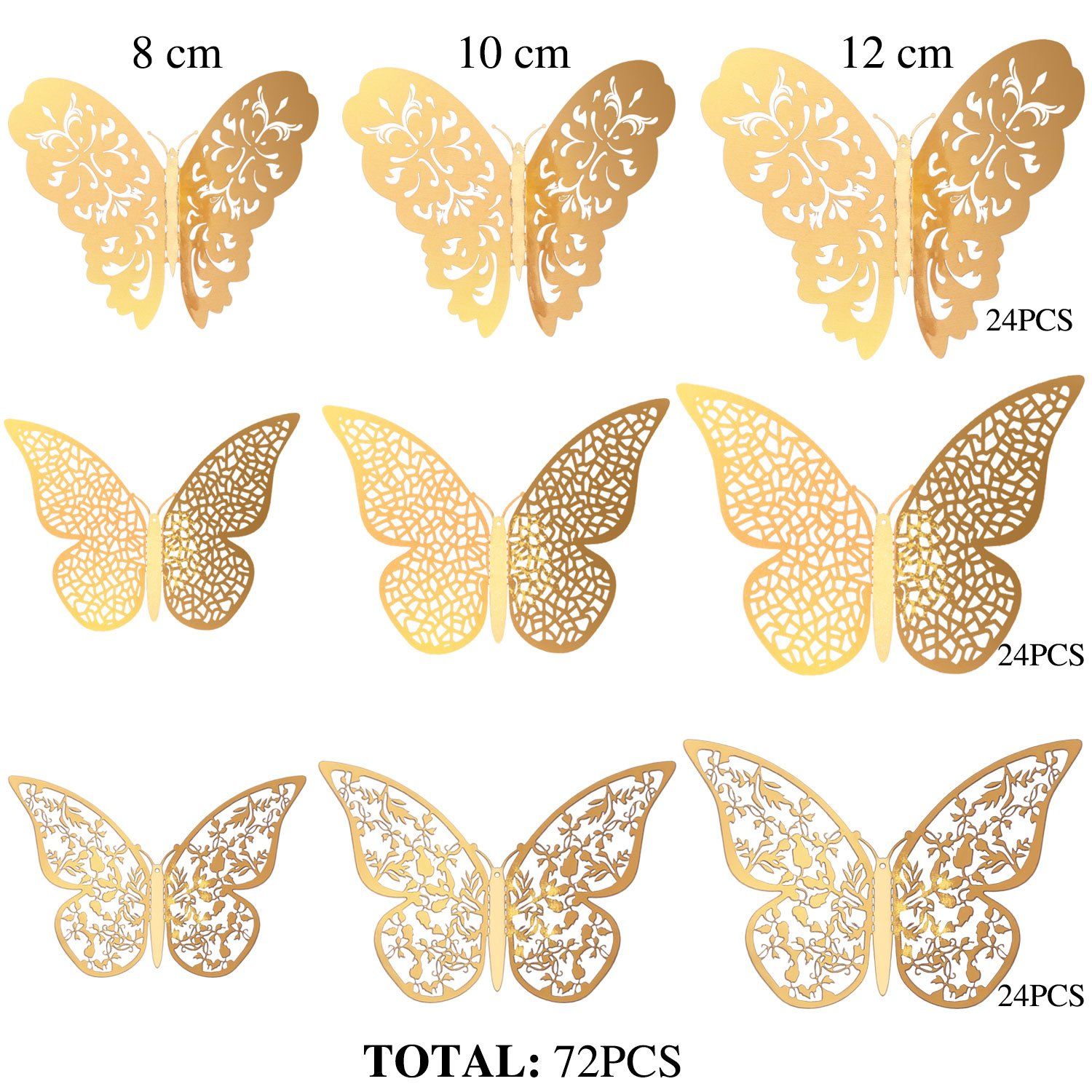 Amazon.com: Bememo 72 Pieces 3D Butterfly Wall Decals Sticker Wall ...