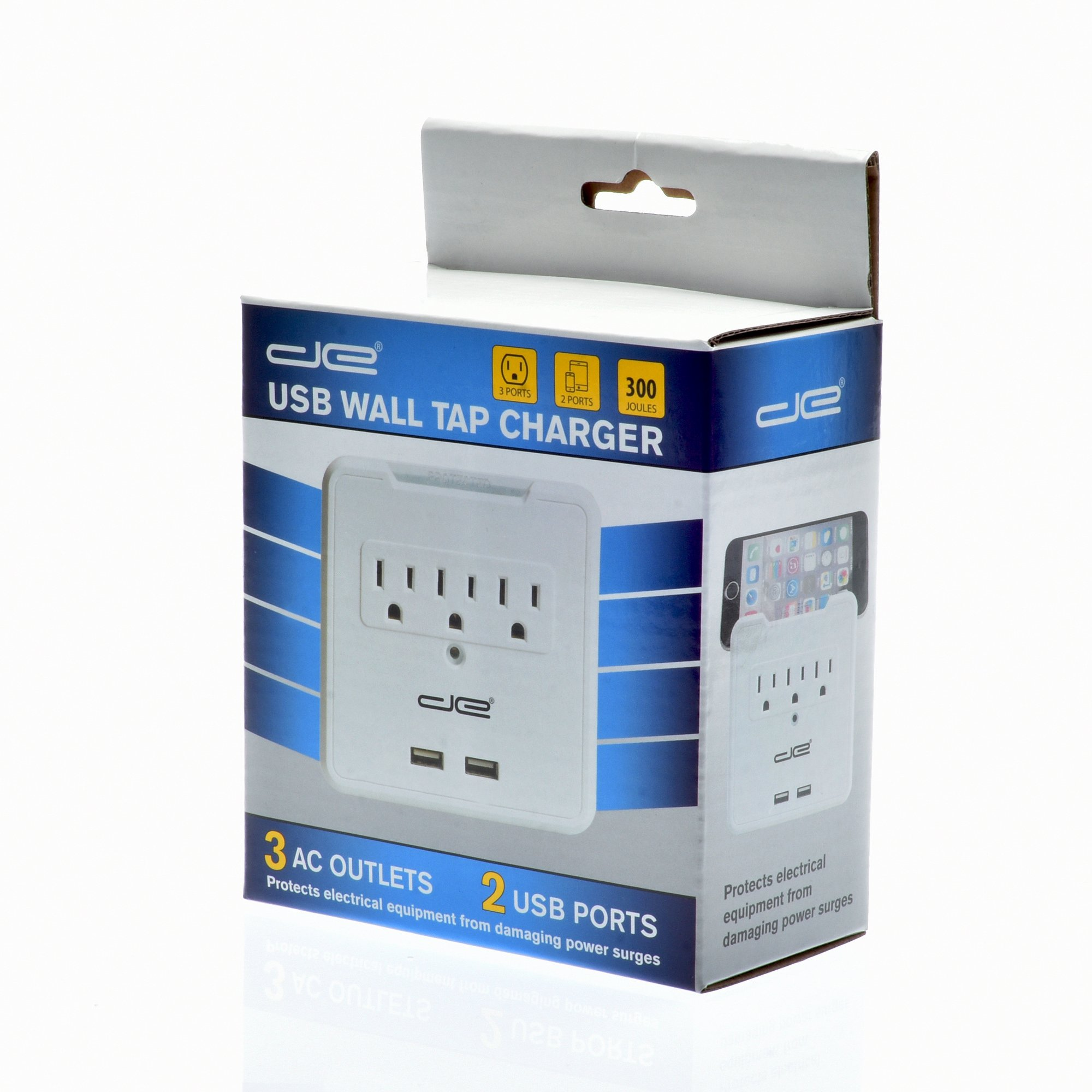Digital Energy Direct Wall Surge Protector - 3 AC Outlets and 2 USB Charging Ports | 300 Joules of Protection from Voltage Spikes & Surges