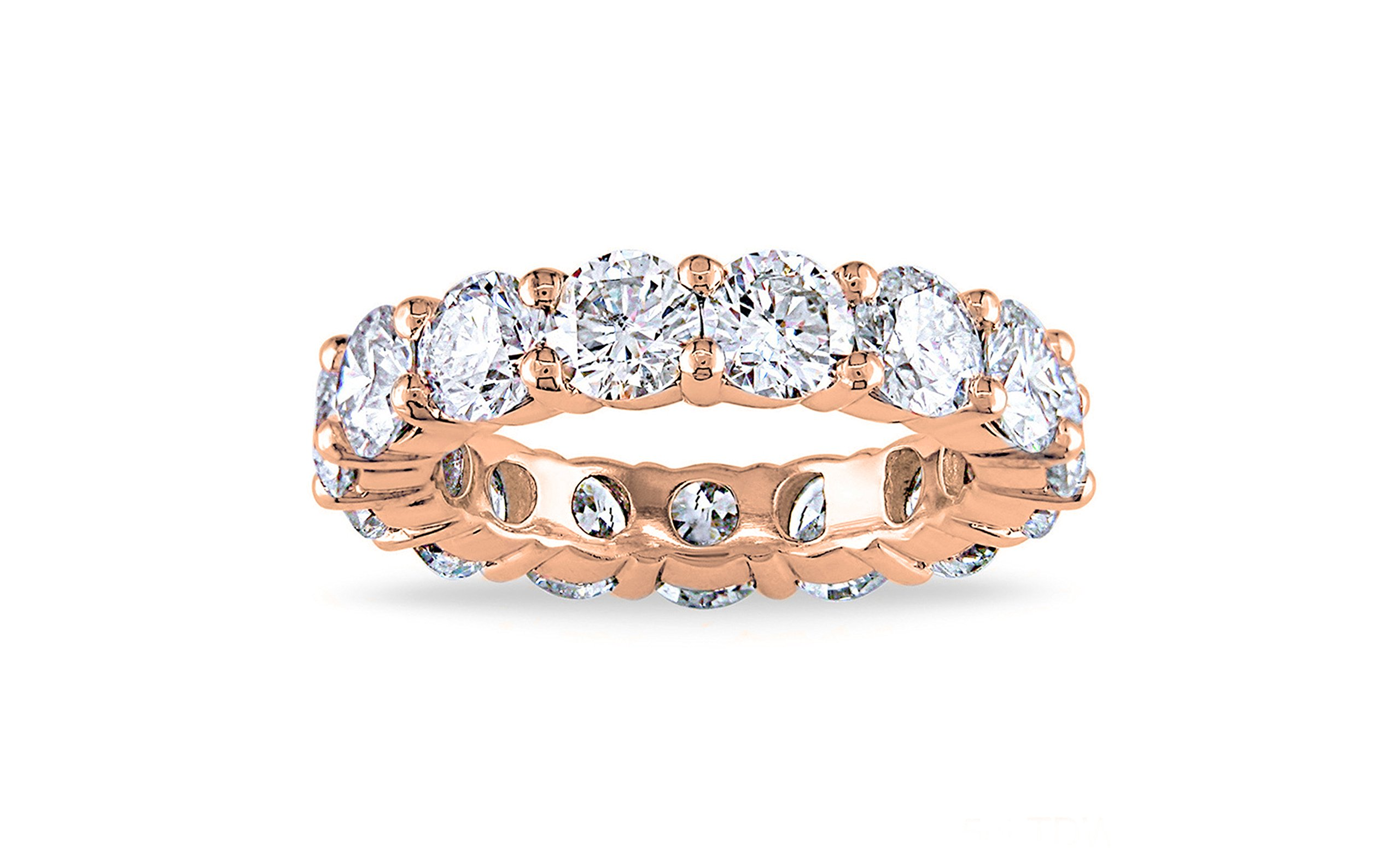 NYC Sterling 4MM Rose Gold Cubic Zirconia Round Luxury Eternity Rings, (6)