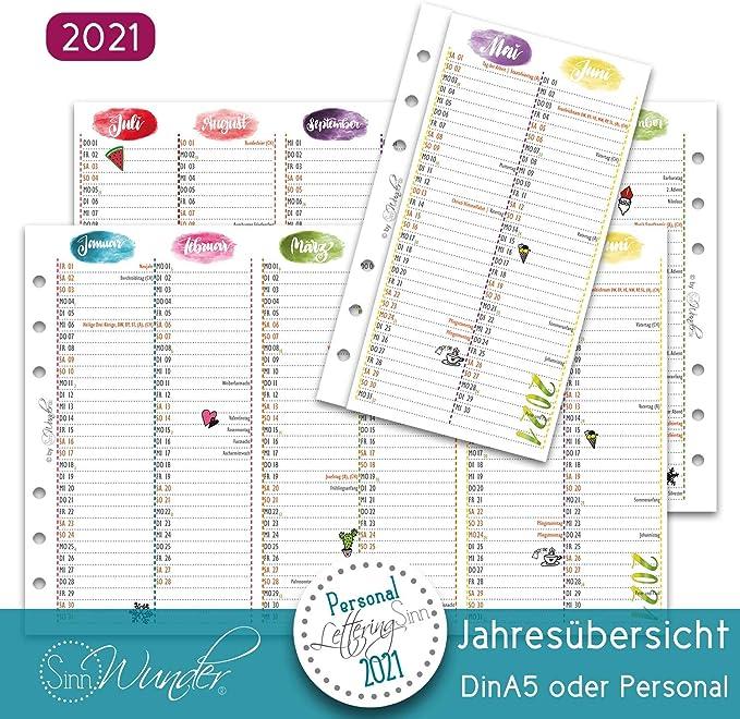LetteringSinn SinnWunder/® Premium-Kalendereinlagen 2021 - Personal Wochenplan mit 1 Woche auf 2 Seiten