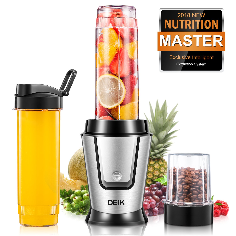 Deik Personal Blender, Smoothie Blender, 1 Portable Bottles 20oz 1 Grind Cup 10.5oz, Comfortable Button Design, Healthy Diet Fitness Yoga, Stainless Steel Base, 500W, Silver