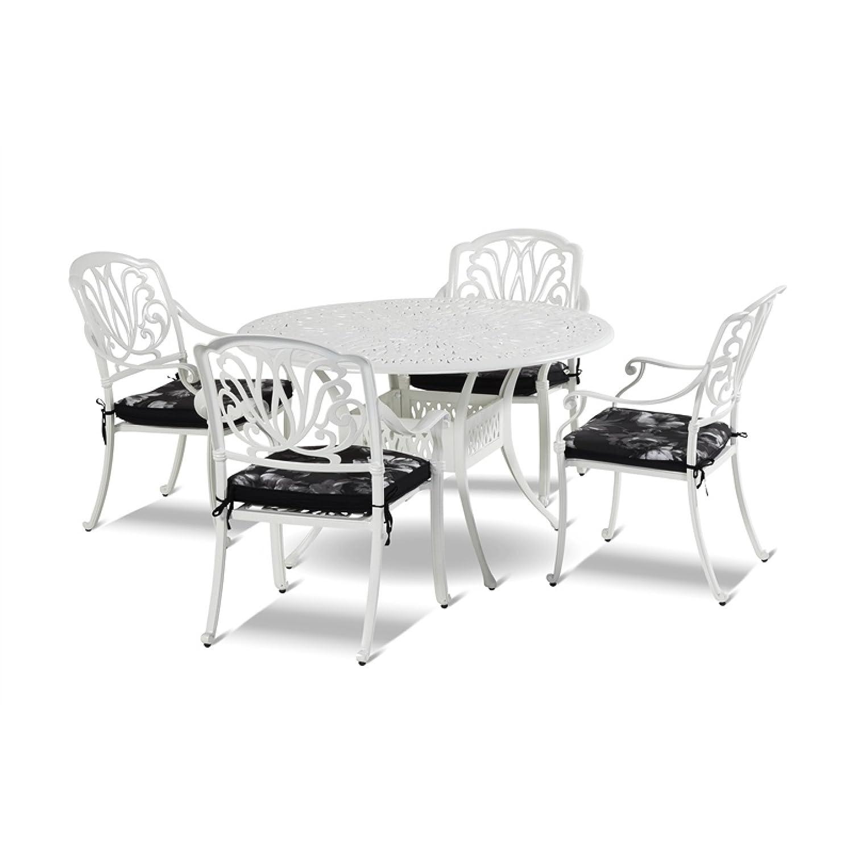 Hartman Sitzgruppe 5teilig Amalfi ∅ 120 cm Aluminium Guss Farbe stracciatella