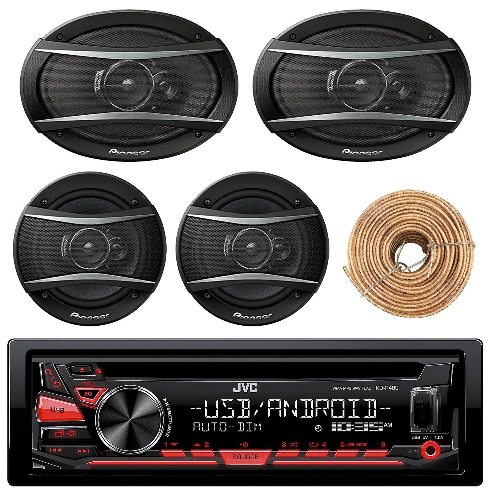 JVC KDR480 Car Radio USB AUX CD Player Receiver - Bundle With 2x TSA1676R 6.5'' 3-Way Car Audio Speakers - 2x 6.5''-6.75'' 4-Way Stereo Speaker + Enrock 50Ft 18 Gauge Speaker Wire