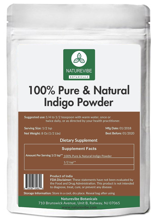 100% Pure & Natural Indigo Powder (1/2lb) by Naturevibe Botanicals (8 ounces) For Hair Color