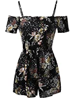 Awesome21 Women's Solid or Patterned Sleeveless Elastic Waistband Romper Jumpsuit