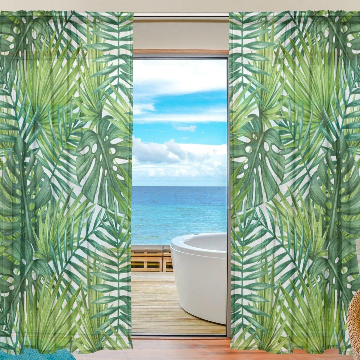 WOZO Watercolor Palm Leaf Window Sheer Curtain Panels 55 x 84 , 2-Piece Tropical Palm Tree Modern Window Treatment Panel for Children Kids Home Living Dining Room Decoration