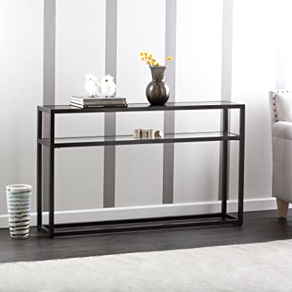 Amazoncom Baldbrick Black Metal Console Table With Glass Top