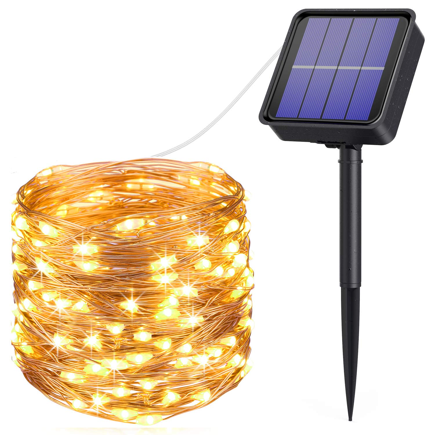 [2019 New] AMIR Solar Powered String Lights, 33ft 100 LED Outdoor String Lights, 8 Lighting Modes Waterproof Solar Decoration Lights for Gardens, Home, Dancing, Party, Christmas (Warm White + White)