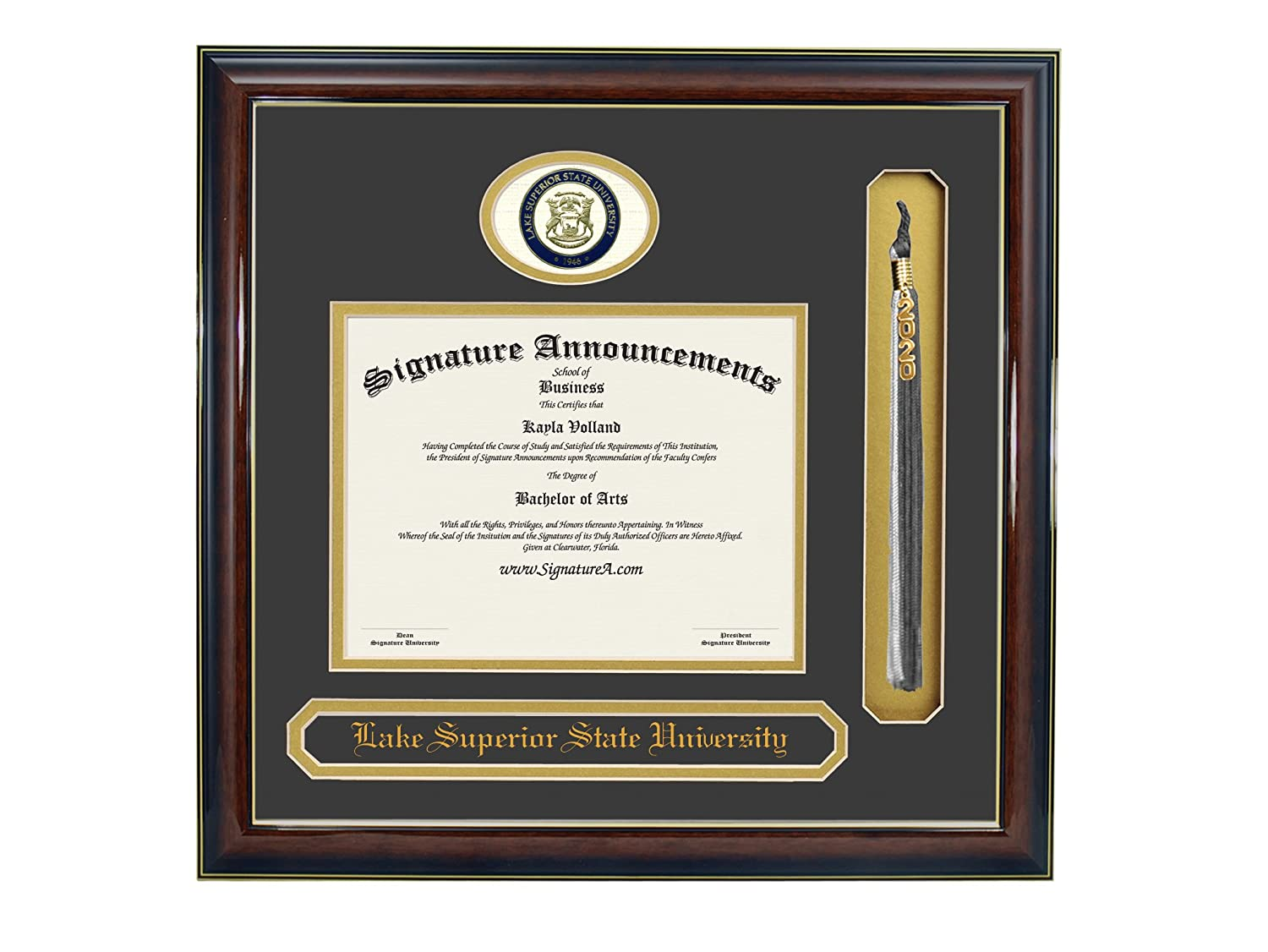 Signature Announcements Lake-Superior-State-University Undergraduate Name /& Tassel Graduation Diploma Frame 16 x 16 Gold Accent Gloss Mahogany Sculpted Foil Seal