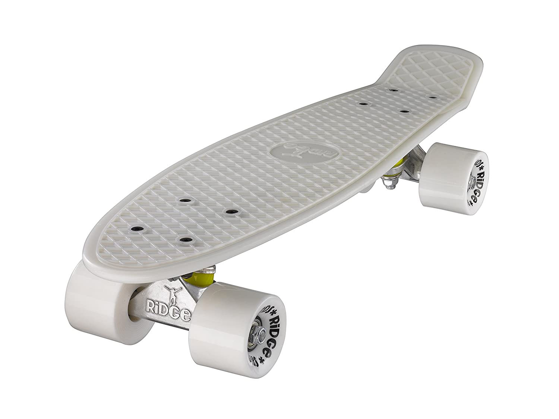 Ridge Skateboards Glow in the Dark Mini Cruiser Board Skateboard, komplett, 55cm 22/glow-white/white/0799456400402