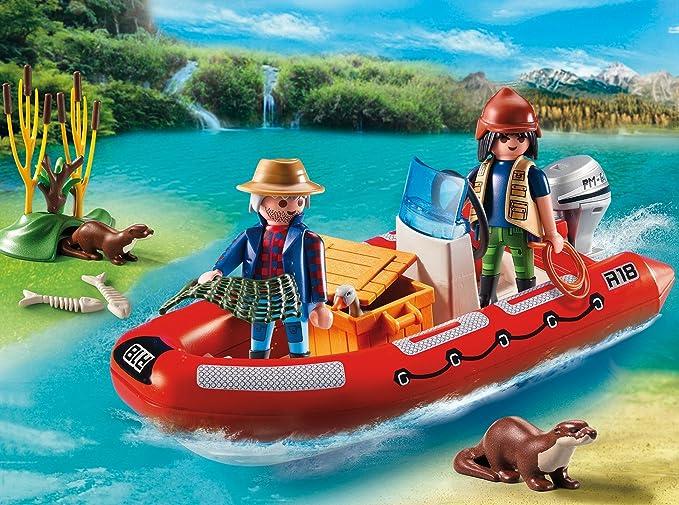PLAYMOBIL - Bote Hinchable con exploradores (55590): Amazon.es ...