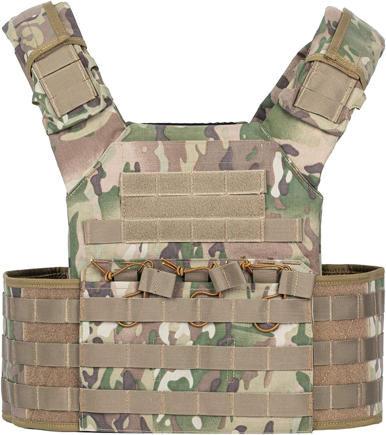 Photo of a vest with camouflage print, with the two side pockets puffed up.