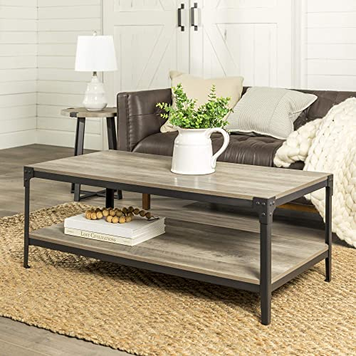 Walker Edison Rustic Farmhouse Rectangle Wood and Metal Frame Coffee Accent Table Living Room 2 Tier Storage Shelf