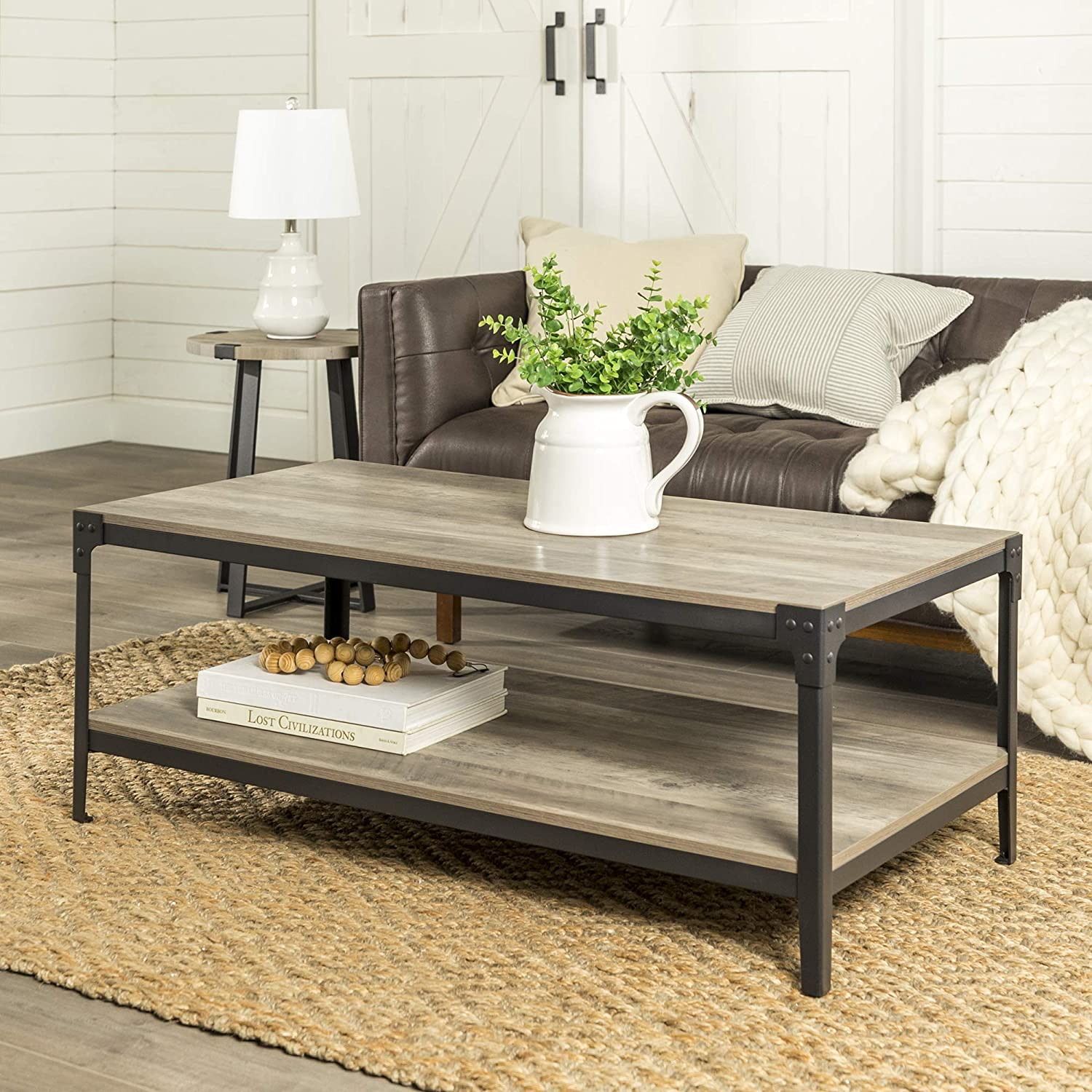 WE Furniture AZ46AICTGW Rustic Farmhouse Coffee Accent Table Living Room,  Set Of 2, Grey