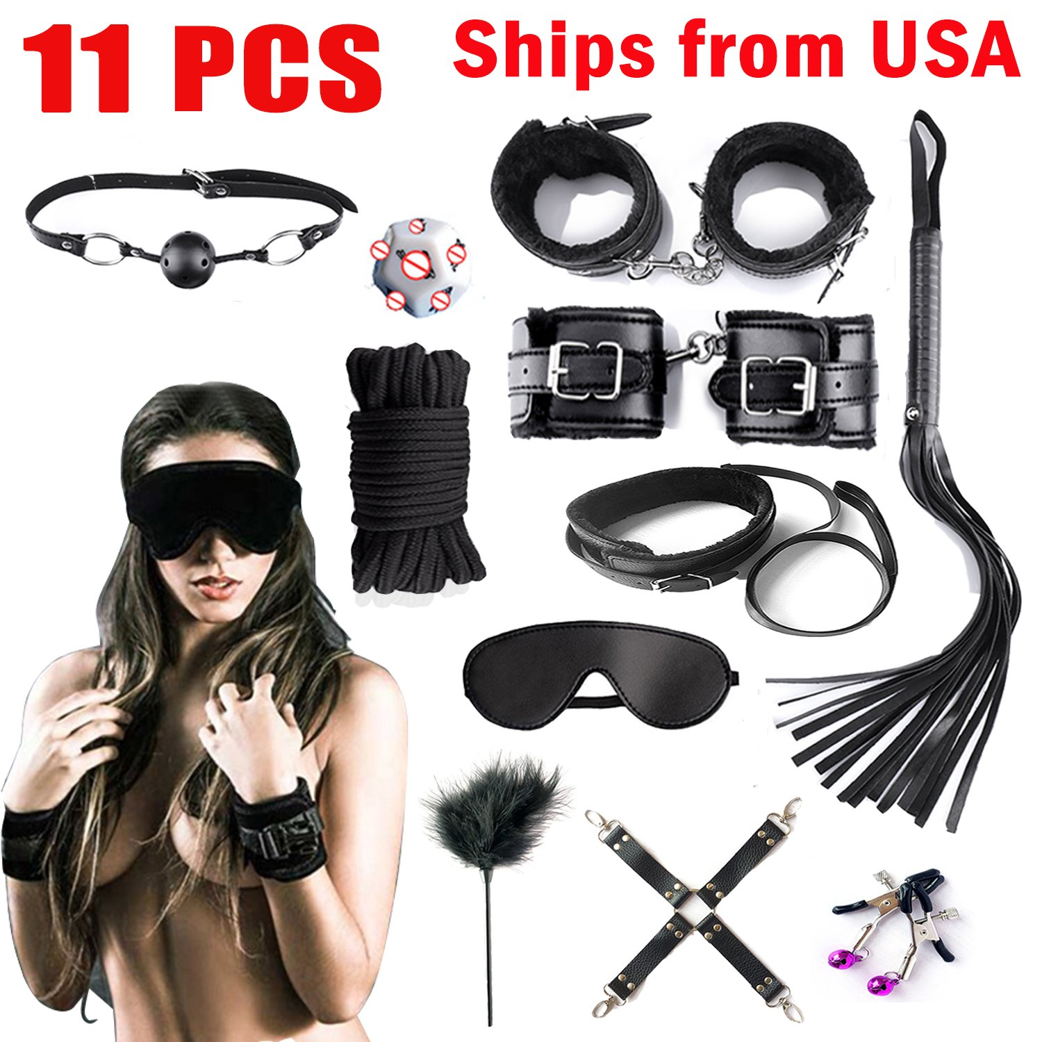 Handcuffs for Under Bed Restraint Kit Bondage Bondageromance Fetish Sex Play BDSM SM Restraining Straps Thigh Game Tie up Mattress Harness Things Blindfold Whips Toys Adults Women Men Couples