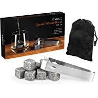 Savisto Granite Whisky Stones Gift Set | Set of 10 Reusable Chilling Whisky Rocks with Stainless Steel Tongs & Storage Pouch