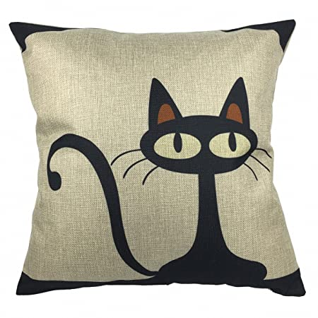 Luxbon Lovely Cat Cushion Cover Durable Cotton Linen Sofa Throw Pillow Case  Cat Presents Wedding Giftsfor