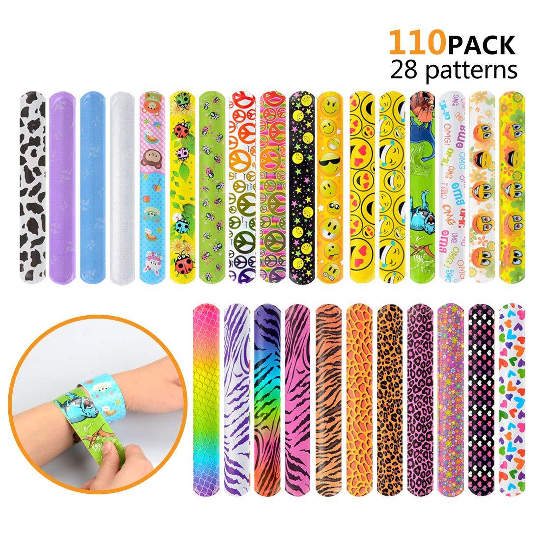 110 Pcs Slap Bracelets, Party Favors Slap Bracelet Pack with Colorful Different Patterns, 1.1 x 8.7 Inch by HappyHapi