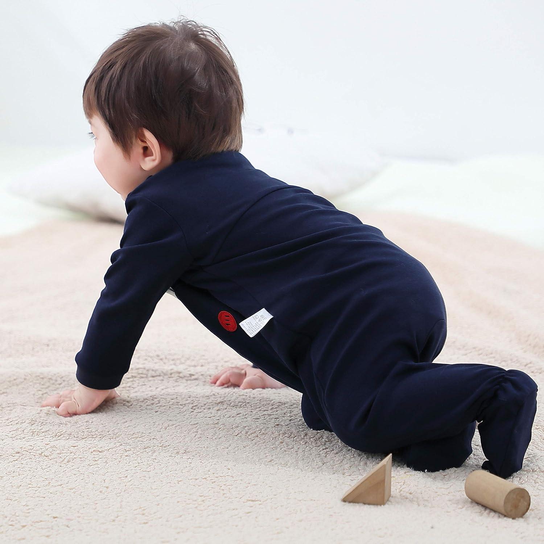 COTTON FAIRY Baby Boys 2-Pack Footies Sleepwear Rompers