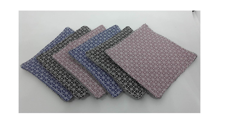 6 lingettes lavables & réutilisables pour bébé ou maman'Géométrique' Zéro déchet