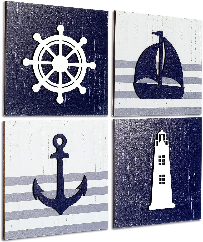 4 Pieces Nautical Wall Decor Anchor Ship Wheel Sailboat Lighthouse Wooden sign Rustic Beach 3D Wood Sign Beach Bathroom Wooden Plaque Decor Ocean Coastal Theme Decorations for Ocean Bathroom Nursery
