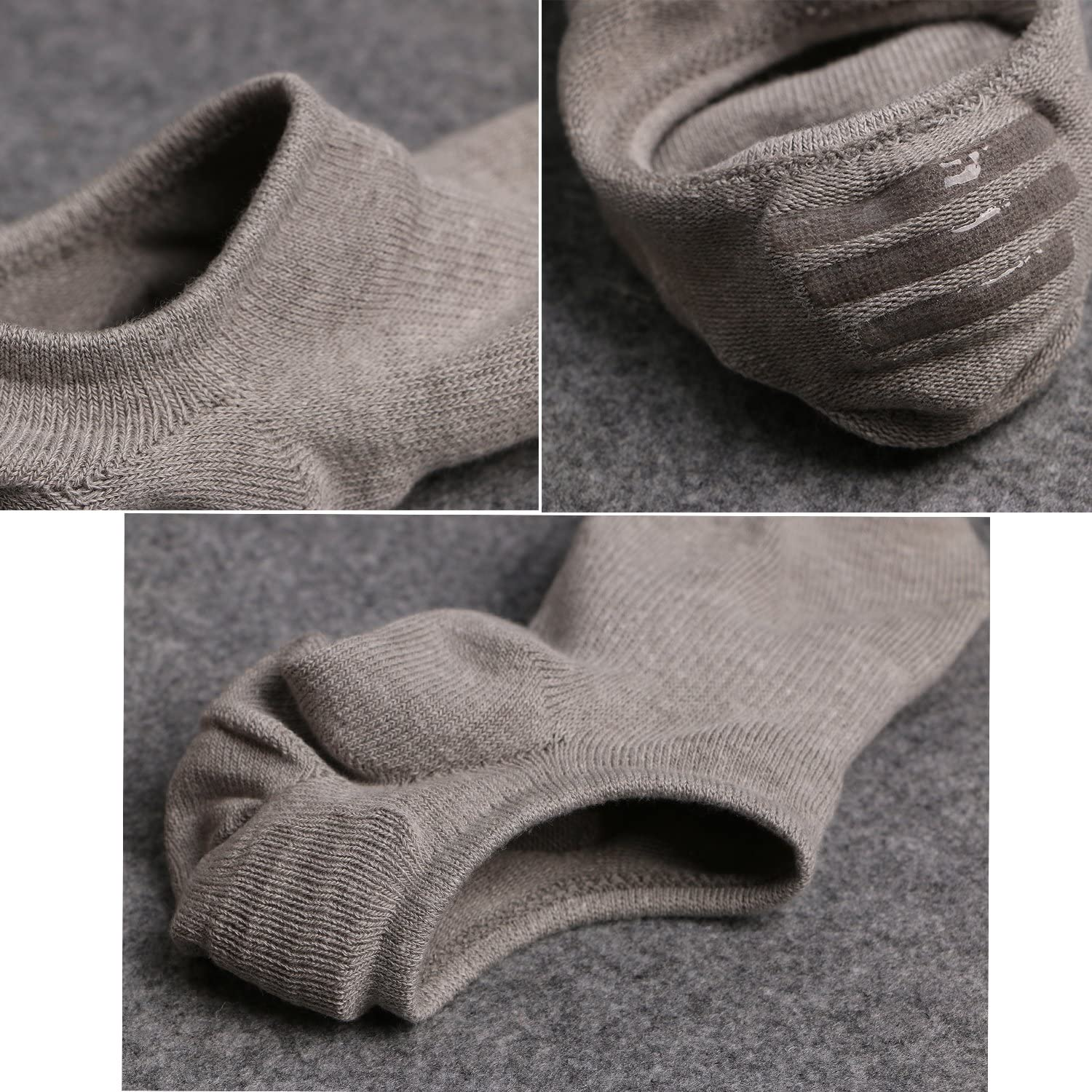 Ueither Mens Cotton Low Cut No Show Casual Ankle Socks Anti-Slip