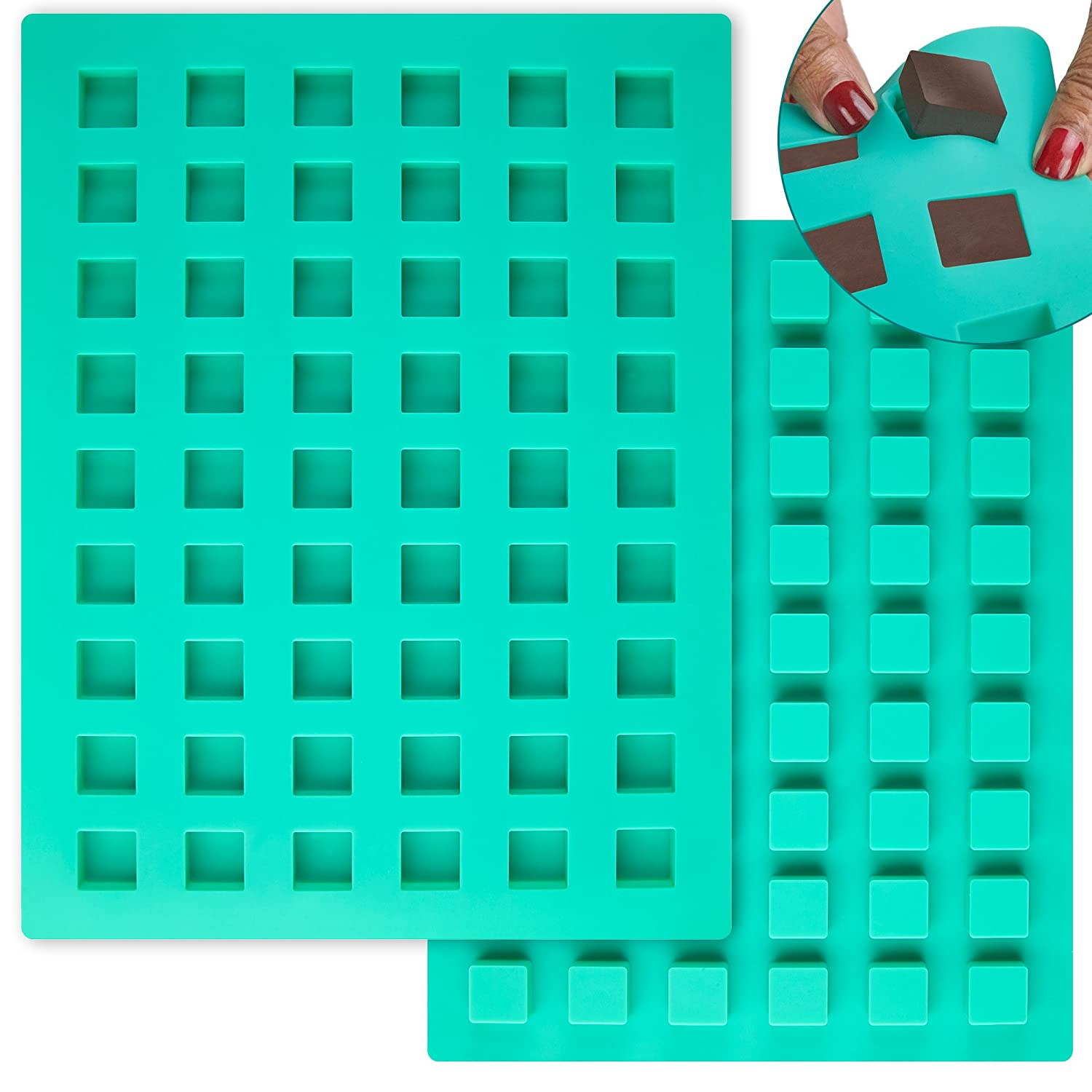 O'Creme Square Mini Brownie Silicone Mold for Chocolate Truffles, Ganache, Jelly, Candy, Pralines, and Caramels