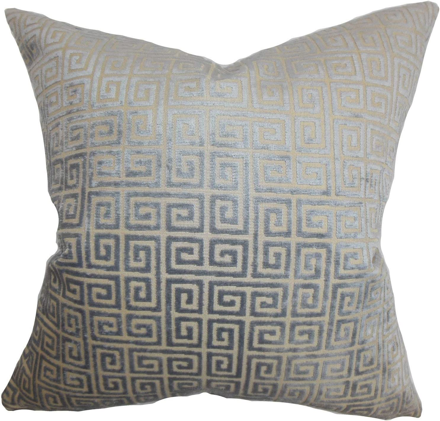 The Pillow Collection Whit Geometric Gray Down Filled Throw Pillow