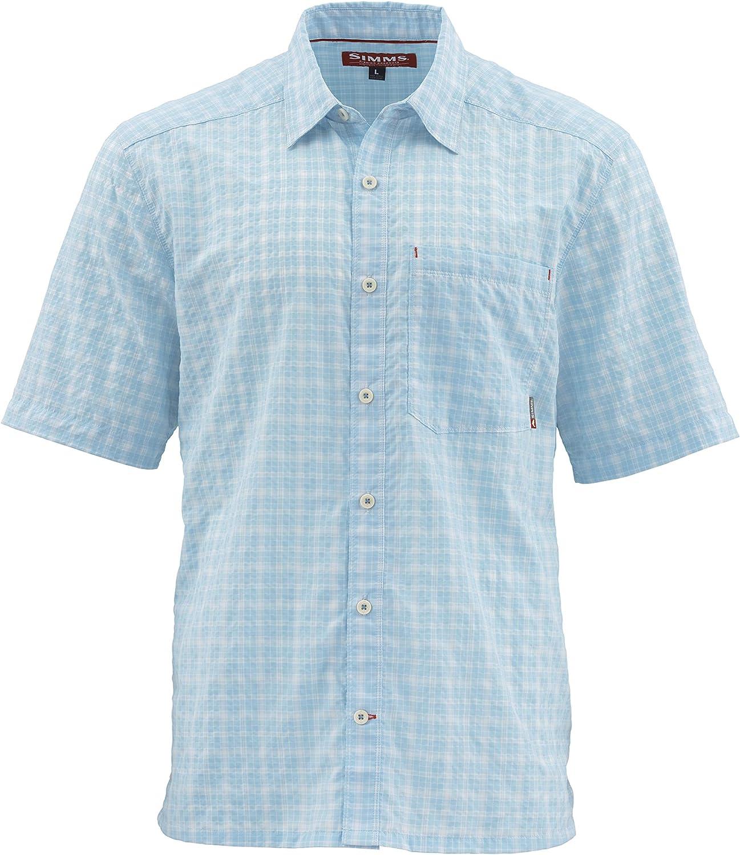 Simms Morada - Camisa de pesca para hombre, manga corta UPF 30, resistente al agua, resistente a las arrugas, con botones, para hombre, S, Mist Plaid: Amazon.es: Deportes y aire libre