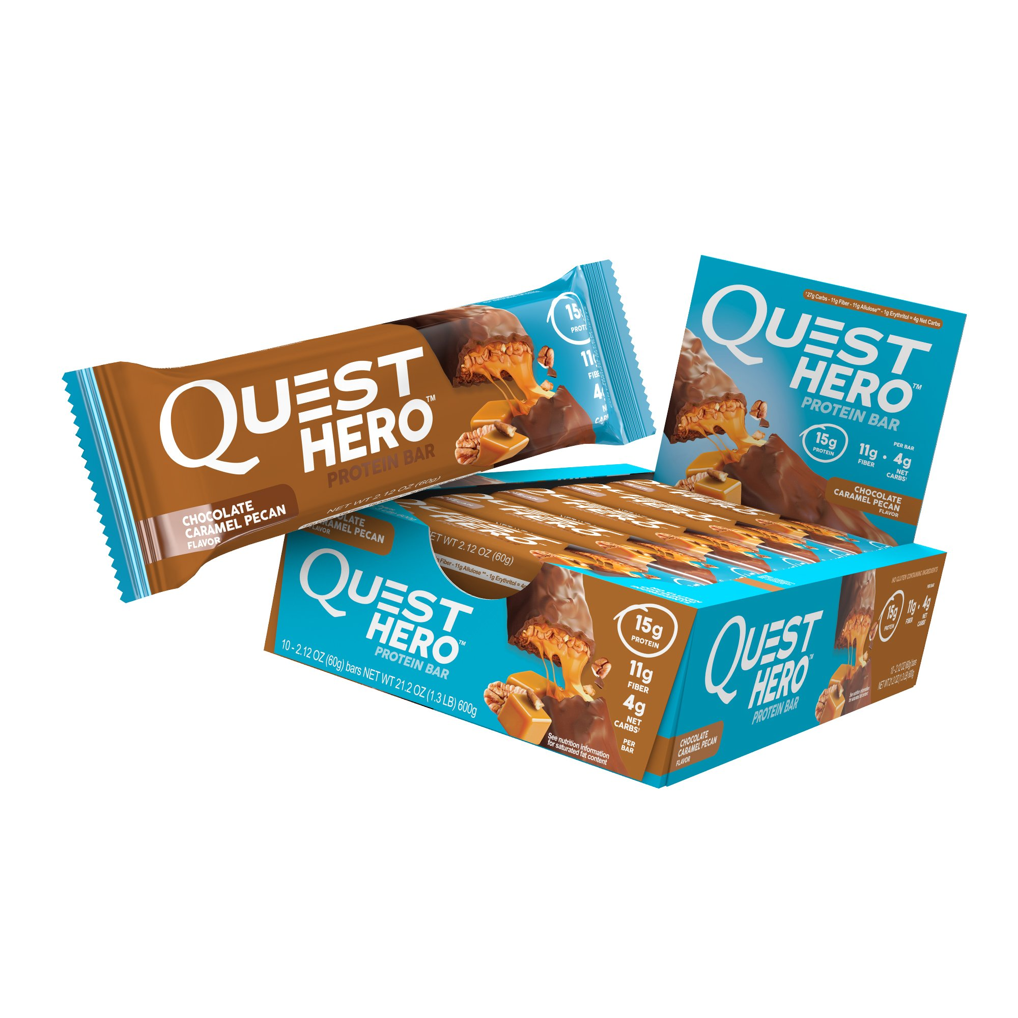 Quest Nutrition Chocolate Caramel Pecan Hero Protein Bar, Low Carb, Gluten Free, 10 Count by Quest Nutrition