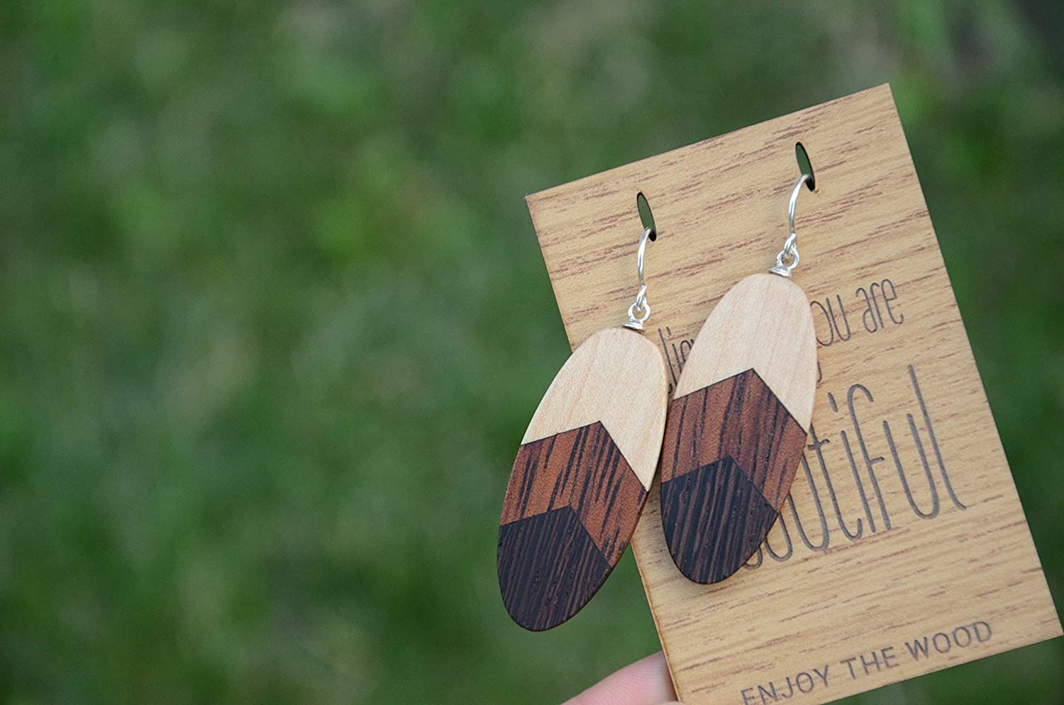 Women Wooden Earrings Silver Bday Gift for Friend Wife Girlfriend Sister Mom Daughter Bride Bridesmaid Bridal Shower Wedding Summer