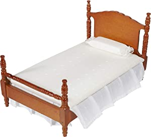 Inusitus Miniature Dollhouse Bed - Dolls House Furniture Queen Bed - 1/12 Scale (Medium-White-Fabric)