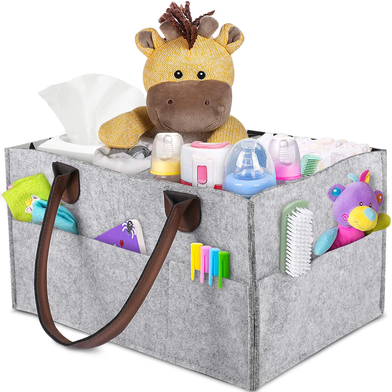 Baby Diaper Caddy - Nursery Caddy Organizer Basket | Portable Diaper Caddy with Changing Pad | Car Travel Bag Storage Bin | Newborn Registry Must Haves for Toys, Burp Cloths, Pacifiers, Creams, Wipes FYLINA