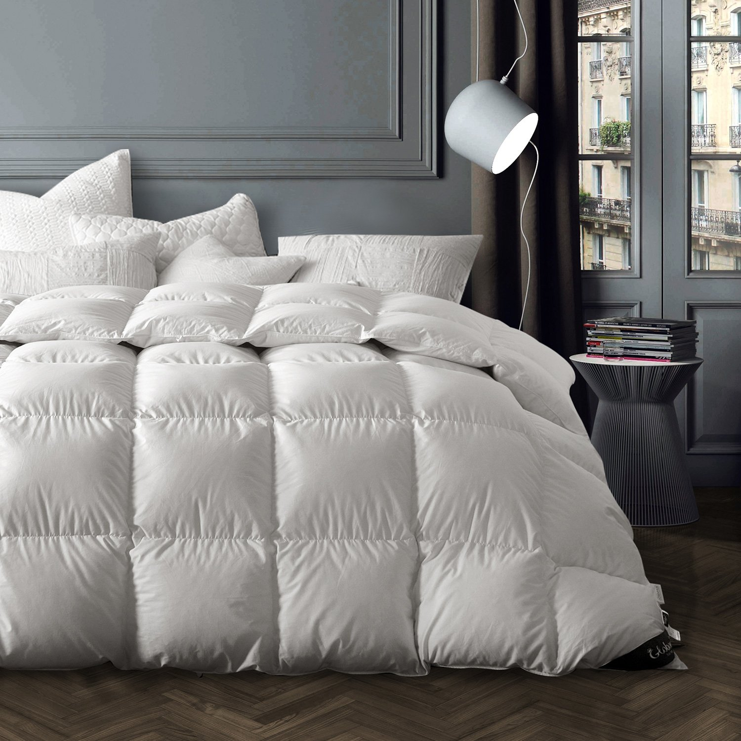 Globon Washable Texcote Nano-Treated White Goose Down Comforter Queen/Full Size, 50 OZ Fill Weight, 700 Fill Power, 400 Thread Count 100% Cotton Shell, White
