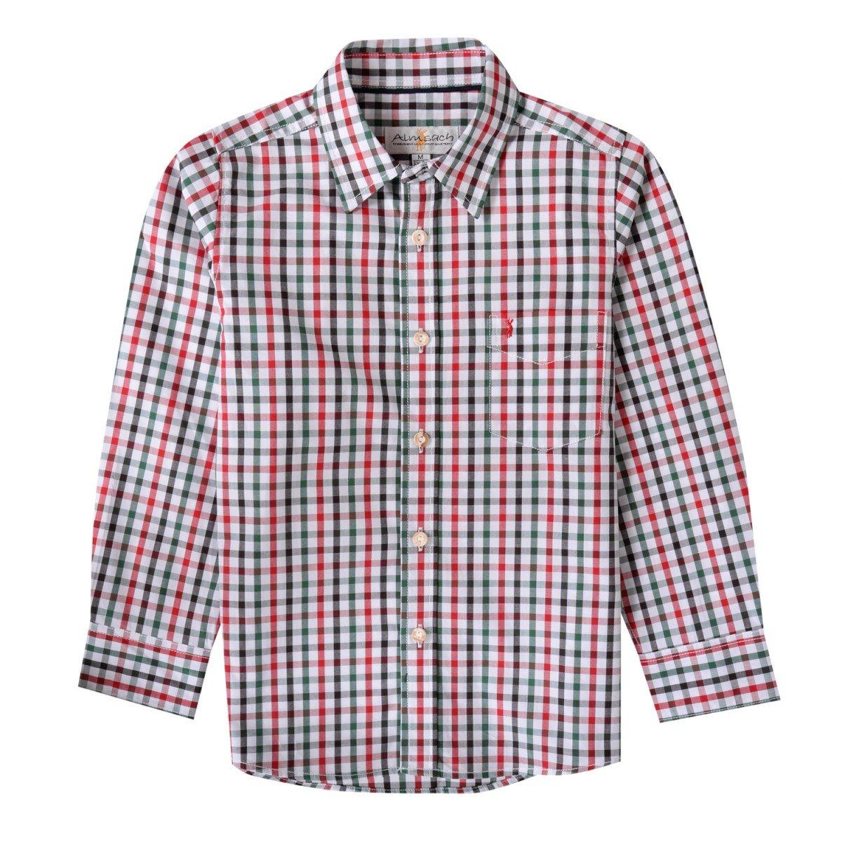 Almsach Trachtenhemd Domi Für Kinder Mehrfarbig in Rot und Dunkelgrün von Inklusive Volksfestfinder