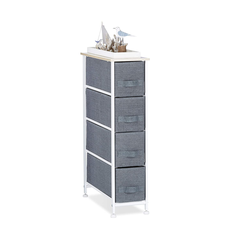 Relaxdays Regalsystem, 4 Stoff-Schubladen, HxBxT  76 x 20 x 48 cm, universale Schubladenbox, Metall und Holz, grau